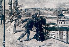 An artist's rendition of the stabbing of Elisabeth by the Italian anarchist Luigi Lucheni in Geneva, 10 September 1898