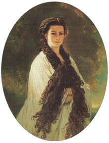 "Portrait of Elisabeth depicting her long hair (by Franz Xaver Winterhalter, 1864), one of two so-called ""intimate"" portraits of the empress; although its existence was kept a secret from the general public, it was the emperor's favourite portrait of her and kept opposite his desk in his private study"