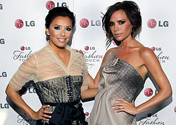 Longoria pictured with Victoria Beckham in 2010.