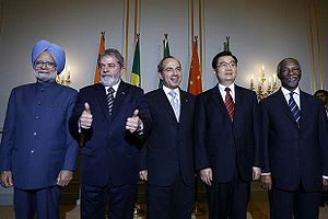 A meeting of leaders of emerging economies in Berlin, coordinated by Felipe Calderón (center). From left to right: Manmohan Singh of India, Luiz Inácio Lula da Silva of Brazil, Calderón, Hu Jintao of the People's Republic of China and Thabo Mbeki of South Africa.