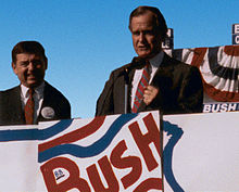 Vice President Bush campaigns in St. Louis, Missouri with John Ashcroft, 1988