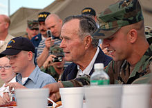 Bush is visiting NAS JRB, New Orleans personnel before receiving briefs on the status of Joint Task Force Katrina relief efforts, October 2005