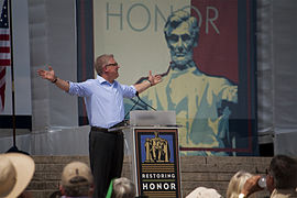 Beck during his religiously-themed speech at the Restoring Honor rally on August 28, 2010.