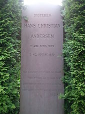 Andersen's gravestone at Assistens Cemetery in the Nørrebro district of Copenhagen.