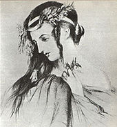 Drawing of Harriet Smithson as Ophelia in Shakespeare's Hamlet