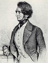 Lithograph of Berlioz by August Prinzhofer, Vienna, 1845. Berlioz considered this to be a good likeness.