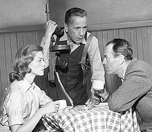 Lauren Bacall, Humphrey Bogart, and Fonda in a live 1955 TV version of The Petrified Forest
