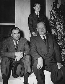 Herbert Hoover with his son Allan (left) and his grandson Andrew (above), 1950