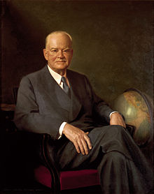 Hoover's official White House portrait painted by Elmer Wesley Greene.