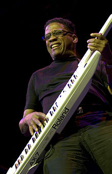 Hancock playing a Roland AX-7 keytar, at The Roundhouse, Camden, London, 2006