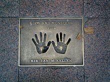 The hands of McKellen on a 1999 Gods and Monsters plaque in London's Leicester Square.