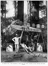 London (right) at the Bohemian Grove with his friends Porter Garnett and George Sterling; a painting parodies his story The White Silence
