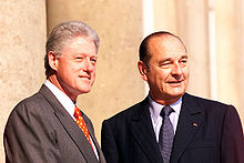 Chirac with Bill Clinton outside the Élysée Palace in Paris, June 1999