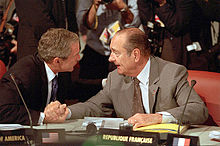 Chirac and George W. Bush during the 27th G8 summit, 21 July 2001.