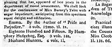 In 1816, the editors of The New Monthly Magazine noted Emma's publication but chose not to review it.[K]