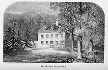 Steventon rectory, as depicted in A Memoir of Jane Austen, was in a valley and surrounded by meadows.[21]