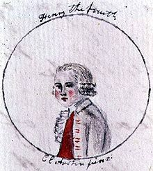 "Portrait of Henry IV. Declaredly written by ""a partial, prejudiced, & ignorant Historian"", The History of England was illustrated by Austen's sister Cassandra (c. 1790)."