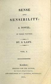 First edition title page from Sense and Sensibility, Jane Austen's first published novel (1811)