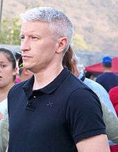 Anderson Cooper at Qualcomm Stadium during the California wildfires of October 2007
