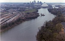 Wolf River Harbor, with Memphis, Tennessee in background.