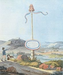 A Goethe watercolor depicting a Liberty pole at the border to the short-lived Republic of Mainz, created under influence of the French Revolution and destroyed in the Siege of Mainz in which Goethe participated