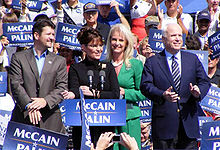 The Palins and McCains campaigning in Fairfax, Virginia, following the 2008 Republican National Convention on September 10