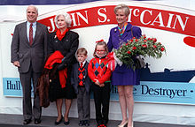 The 1992 christening of USS John S. McCain at Bath Iron Works, with his mother Roberta, son Jack, daughter Meghan, and wife Cindy
