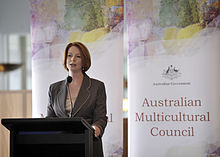 Gillard speaking at the launch of the Australian Multicultural Council in August 2011