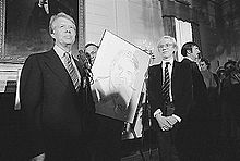 Andy Warhol and Jimmy Carter in 1977