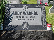 Warhol's grave at St. John the Baptist Byzantine Catholic Cemetery