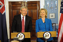 Rudd with United States Secretary of State Hillary Clinton in September 2010