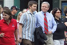 Labour Day 2007. From left to right: Anna Bligh (then Deputy Premier of Queensland), Rudd's son Nicholas, Kevin Rudd and Grace Grace (then General Secretary of the Queensland Council of Unions).
