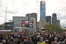 Kevin Rudd on television in Federation Square, Melbourne, apologising to the stolen generations.