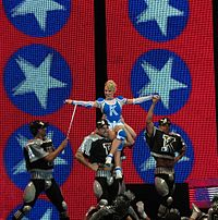 Minogue performing in Bulgaria during the KylieX2008 tour (2008).