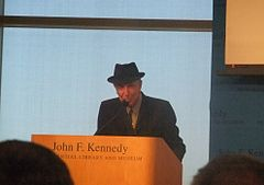 Cohen was honored alongside Chuck Berry as the recipients of the first annual PEN Awards for songwriting excellence-at the JFK Presidential Library, Boston, Massachusetts on 26 February 2012.