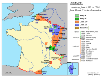 Territorial expansion of France under Louis XIV (1643–1715) is depicted in orange.