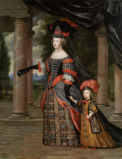 Maria Theresa of Spain, wife of Louis XIV, with their only surviving son, Louis le Grand Dauphin.