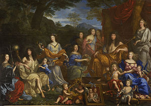Louis and his family portrayed as Roman gods in a 1670 painting by Jean Nocret. L to R: Louis's aunt, Henriette-Marie; his brother, Philippe, duc d'Orléans; the Duke's daughter, Marie Louise d'Orléans, and wife, Henriette-Anne Stuart; the Queen-mother, Anne of Austria; three daughters of Gaston d'Orléans; Louis XIV; the Dauphin Louis; Queen Marie-Thérèse; la Grande Mademoiselle.