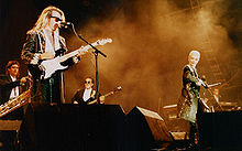 Lennox (far right) and David A. Stewart (left) performing as Eurythmics in 1987.