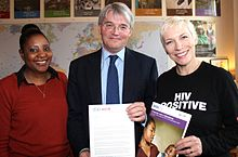 HIV campaigners, Memory Sachikonye (l) and Annie Lennox (r) met with Secretary of State for International Development Andrew Mitchell