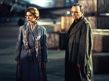 Isabella Rossellini and Sir Anthony Hopkins in Berlin to shoot scenes for The Innocent (1993).