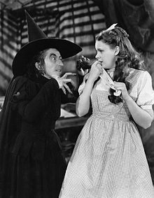 Hamilton as the Wicked Witch of the West with Judy Garland as Dorothy Gale in The Wizard of Oz (1939)