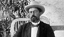 Chekhov's classic look: pince-nez, hat and bow-tie