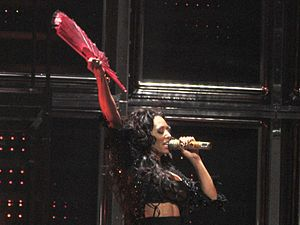 Melanie Brown performing in 2007 with the Spice Girls