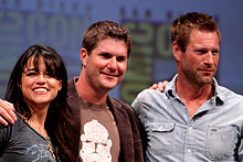 Michelle Rodriguez (left) and Aaron Eckhart (right), along with director Jonathan Liebesman at the 2010 San Diego Comic-Con International
