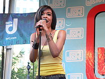 Michelle performing on stage at J&R Musicfest, 2008.