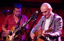 Paul Kelly (at right) and his nephew, Dan Kelly, performing at Rockwood Music Hall in September 2011