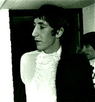 Townshend (with Moon, rear right) backstage before a gig in Ludwigshafen, Germany in 1967