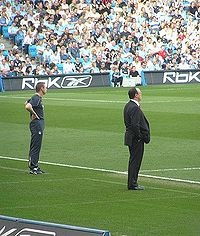 With Manchester City manager Stuart Pearce at the City of Manchester Stadium, 14 February 2007.