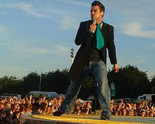 Robbie Williams in concert in Hamburg, Germany in 2006
